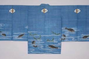 1 能装束 浅葱地流水に鮒と水草文様素襖